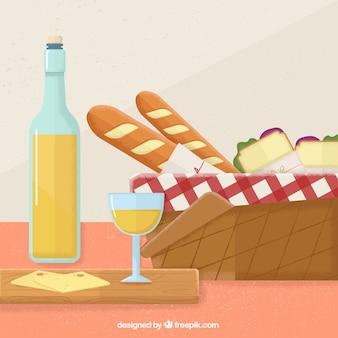 Piquenique delicioso com vinho e queijo