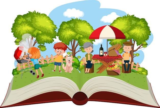 Piquenique em família feliz no jardim