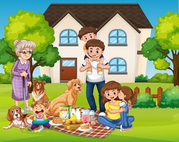 Piquenique em família feliz no quintal