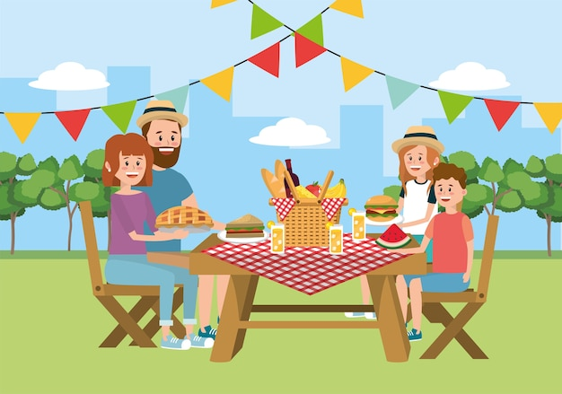 Piquenique em família juntos na mesa e cesta