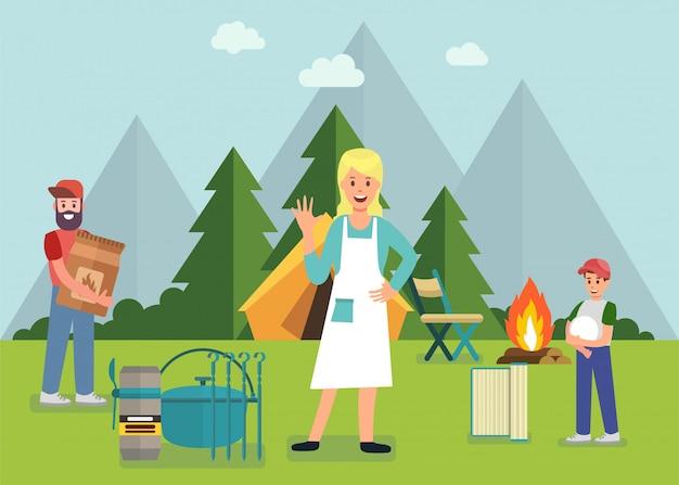Piquenique em família na floresta com anúncio de churrasqueira