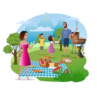 Piquenique família feliz e caminhada no vetor de natureza
