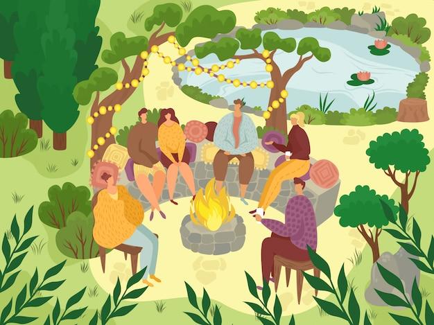 Piquenique no jardim, pessoas sentadas nas rochas na festa no jardim lá fora, ilustração plana de celebração de quintal.