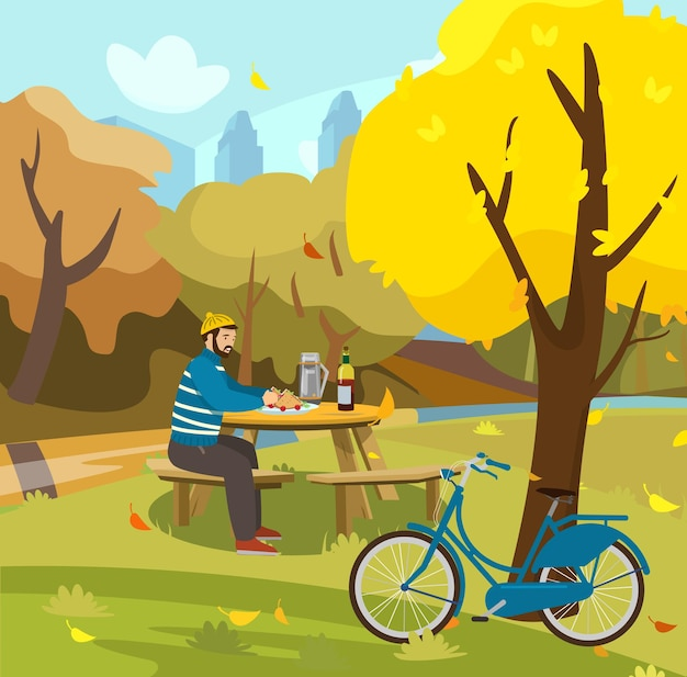 Piquenique no parque do outono outono no parque da cidade