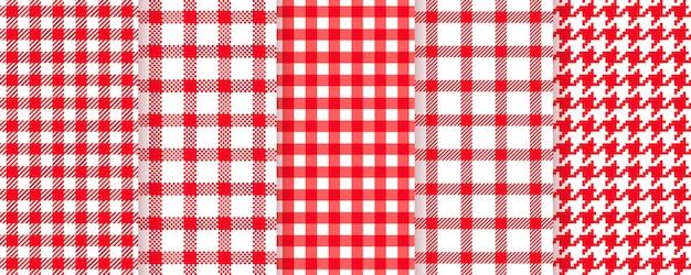 Piquenique, padrão sem emenda de toalha de mesa. ilustração vetorial. planos de fundo xadrez vermelho.