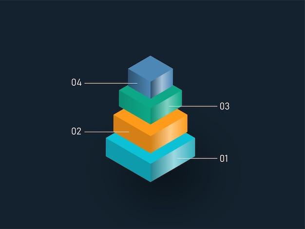 Pirâmide 3d de quatro níveis com blocos coloridos para o conceito de infográfico de powerpoint de negócios.