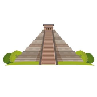 Pirâmide asteca com arbustos verdes na base isolada no branco. ilustração realista do marco da pirâmide maia no centro do méxico. templo de kukulkan ou pirâmide el castillo em chichen itza