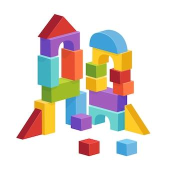 Pirâmide construída com cubos infantis. ilustração de castelo de brinquedo.