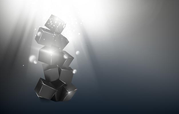 Pirâmide da caixa mágica sobre fundo escuro e brilhante