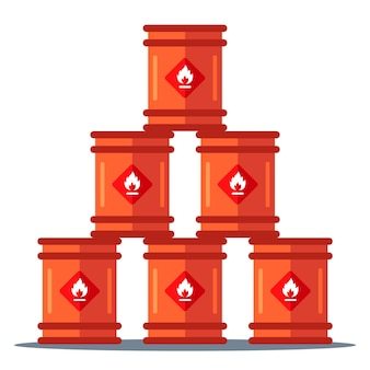Pirâmide de armazenamento de barris de ferro. armazenamento de substâncias inflamáveis. ilustração plana