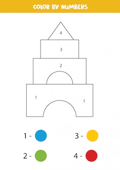 Pirâmide de brinquedo de cor por números.