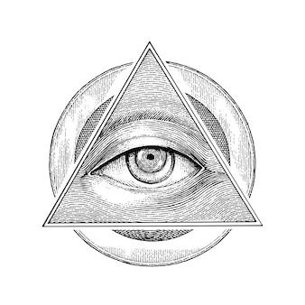 Pirâmide de olho com mão de círculo vintage desenho estilo de gravura