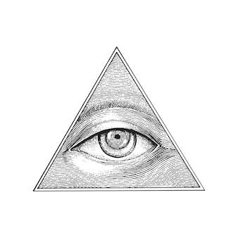 Pirâmide de olho mão desenho estilo de gravura