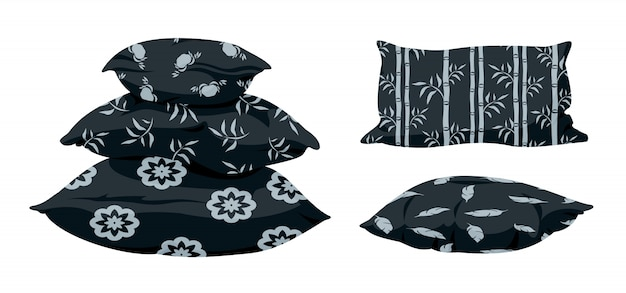 Pirâmide de travesseiro preto, plana dos desenhos animados com padrão decorativo. almofada quadrada escura e macia para cama, sofá