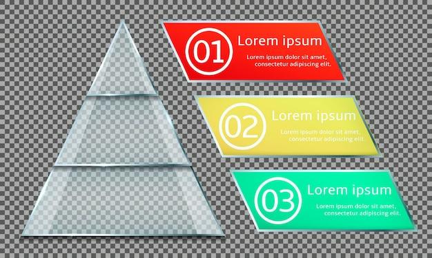 Pirâmide de vidro infográfico