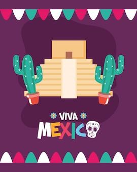 Pirâmide e cacto mexicano