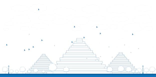 Pirâmides de contorno na ilustração de gizé