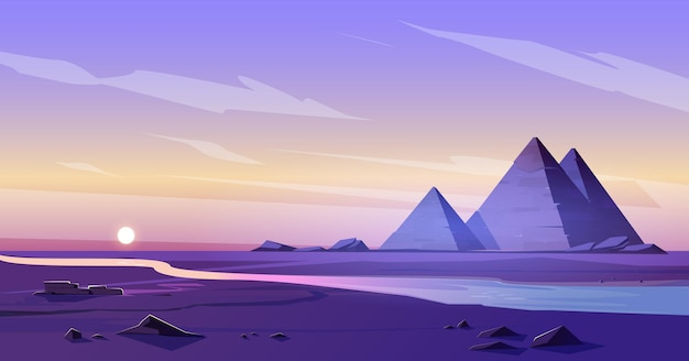 Pirâmides do egito e rio nilo ao anoitecer