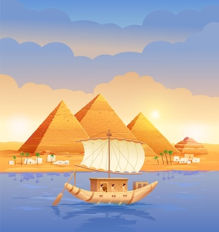 Pirâmides do egito pirâmides egípcias à noite no rio. pirâmide de quéops no cairo em gizé um barco navegando pela ilustração das pirâmides