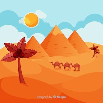 Pirâmides do egito plana paisagem com caravana de camelos