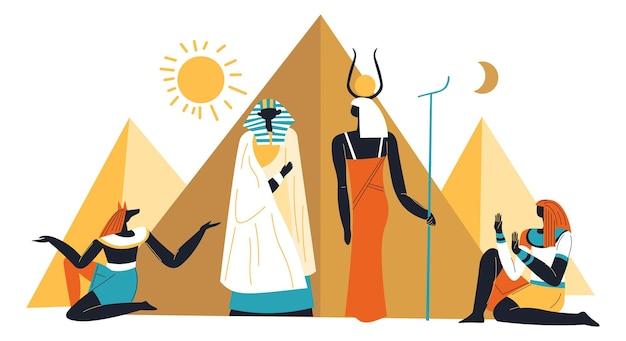 Pirâmides egípcias, sol e vetor de divindades antigas