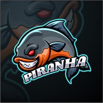 Piranha esport logotipo mascote design