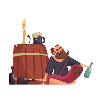 Pirata bêbado com perna de pau e garrafa de rum de desenho animado