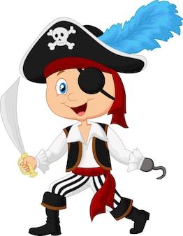 Pirata bonito dos desenhos animados