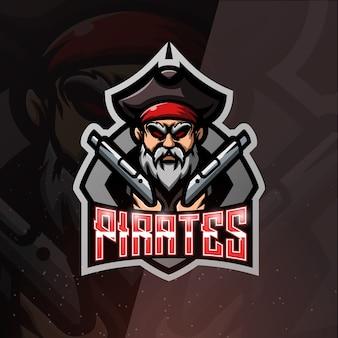 Pirata com mascote de armas de ilustração esport