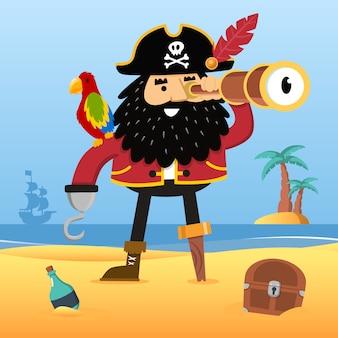 Pirata com spyglass
