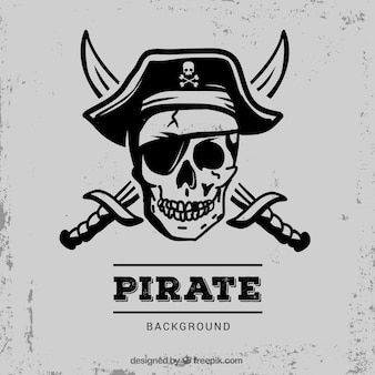 Pirata, cranio, fundo, espadas