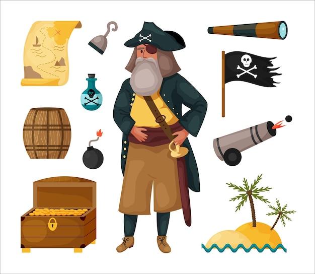 Pirata cravejado de mapa, barril de madeira, luneta, ilha, gancho, arma, rum, baú do tesouro, pacote vetorial