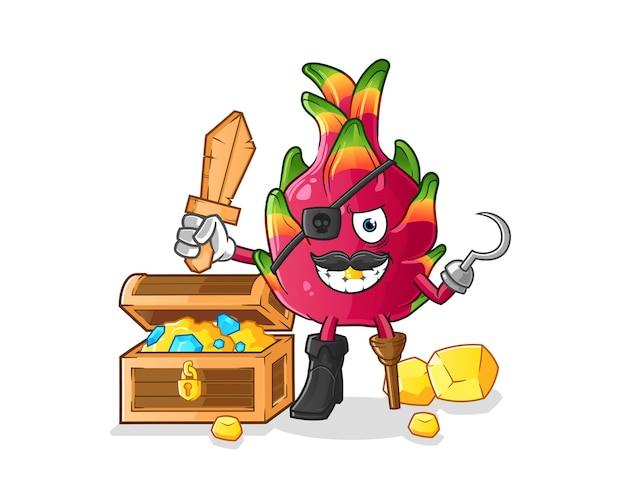 Pirata da fruta do dragão com mascote do tesouro. ilustração dos desenhos animados