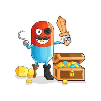 Pirata da medicina com mascote do tesouro. desenho animado