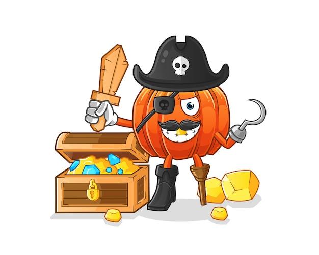 Pirata de abóbora com mascote do tesouro