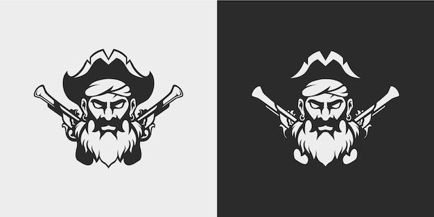 Pirata de barba com pistolas de pederneira com desenho mínimo de tatuagem