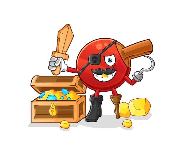 Pirata de bastão de tênis de mesa com mascote do tesouro. desenho animado