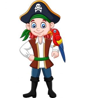 Pirata de capitão dos desenhos animados com pássaro arara