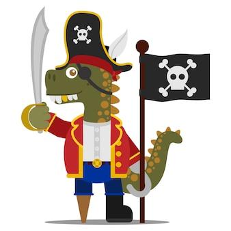 Pirata de dinossauro imprudente com um sabre e uma garra segurando uma bandeira de pirata preta. estilo dos desenhos animados. ilustração. estilo design plano.