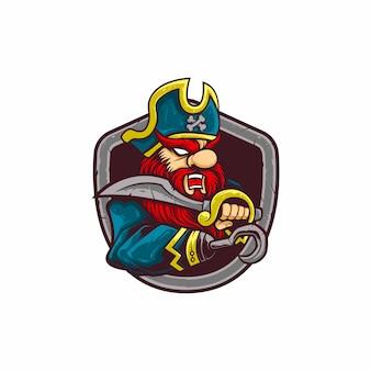 Pirata de logotipo de mascote de ilustração