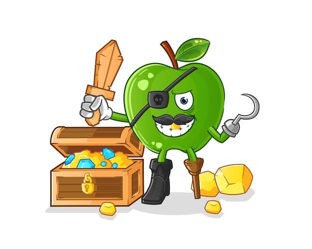 Pirata de maçã verde com mascote do tesouro