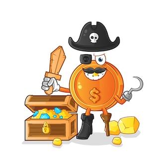 Pirata de moedas de dólar com ilustração de tesouro
