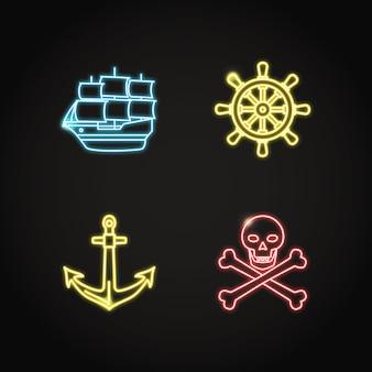 Pirata de néon e conjunto de ícones náuticos