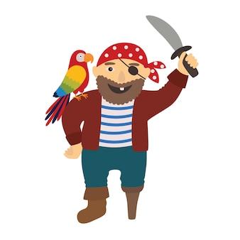 Pirata de pirata dos desenhos animados com um papagaio no ombro