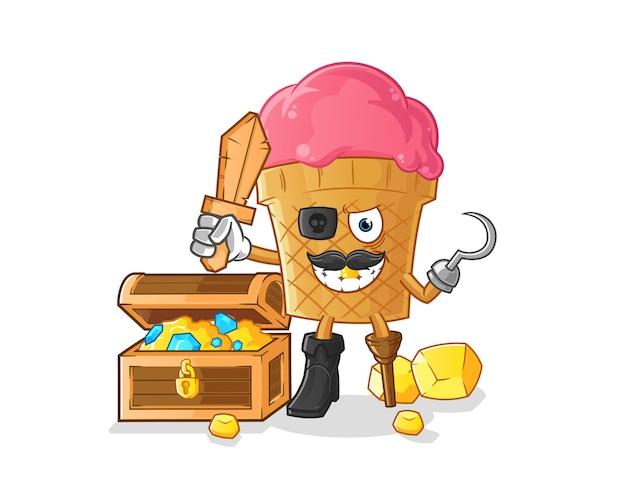 Pirata de sorvete com desenho do mascote do tesouro Vetor Premium