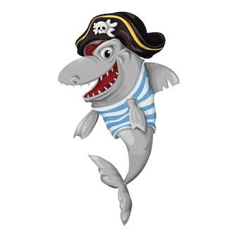 Pirata de tubarão em um fundo branco