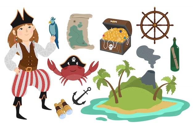 Pirata definido no estilo dos desenhos animados