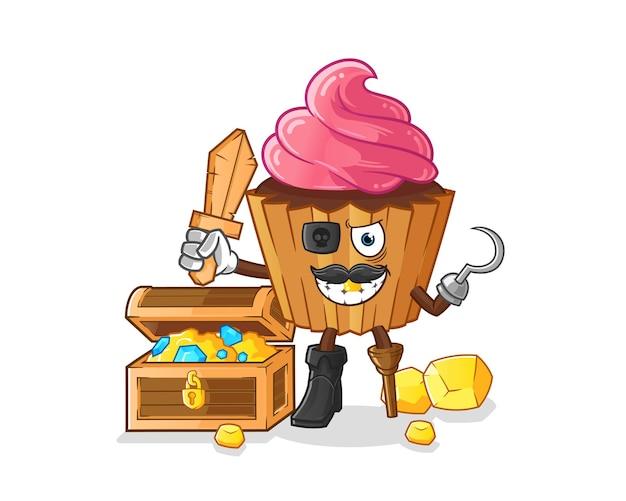 Pirata do bolo do copo com mascote do tesouro. desenho animado