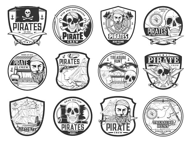 Pirata do caribe e corsário ícones isolados com o capitão do vetor pirata, mapa, navio, caveira, bandeira preta e tapa-olho. baú de tesouro, barco, elmo e rum, espada, papagaio, canhão e distintivos de arma de pirataria