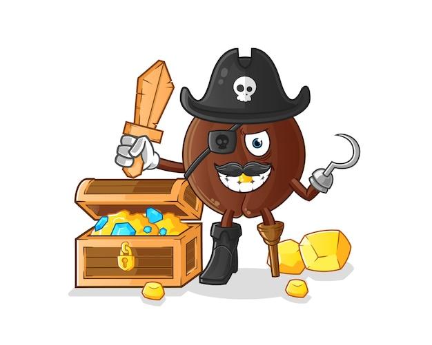 Pirata do grão de café com mascote do tesouro. desenho animado